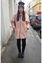 light pink F&F coat - black buckle Primark boots - black ripped F&F jeans