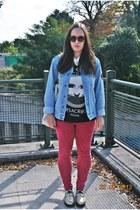 Sheinside sweatshirt - Zara jeans - vintage jacket - H&M sunglasses