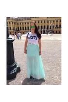 Sheinsidecom necklace - Zara shirt - mirrored Aliexpress sunglasses - H&M skirt