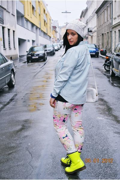 denim H&M blouse - neon deezee boots - beaniediy F&F hat - flea market shirt