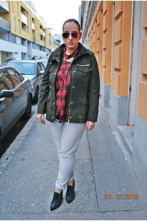 c&a blouse - H&M boots - H&M jeans - H&M jacket - zeroUV sunglasses