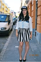 Aliexpress hat - denim Zara shirt - H&M bag - striped Primark skirt
