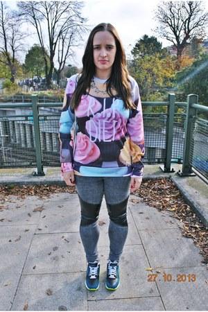 Tally Weijl jeans - Sheinside sweatshirt - H&M necklace - nike air max sneakers