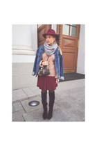 blue D&G jacket - black River Island boots - maroon H&M hat