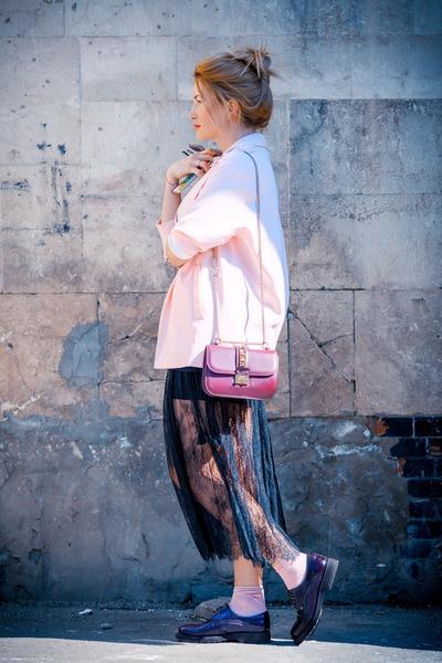 light pink Stradivarius jacket - maroon Valentino bag - black Givenchy t-shirt