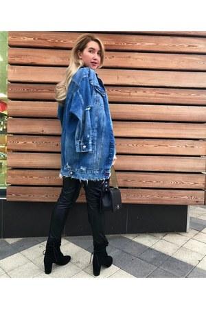 navy Zara jacket - sky blue Zara sweater - black Chanel bag