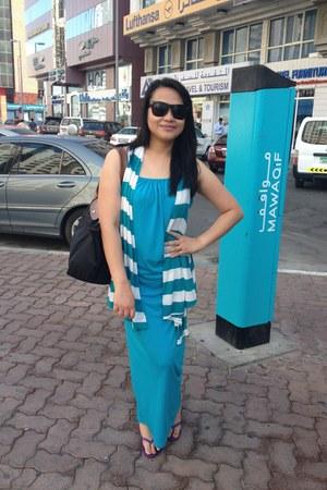 Stripe Vest top - turquoise dress - longchamp bag - Ipanema flip flops sandals
