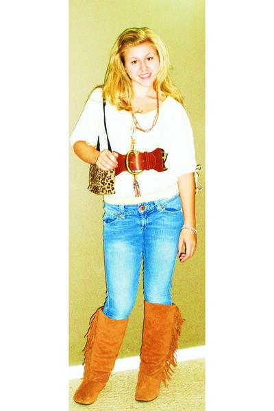 Luxe shirt - BP belt - gift necklace -  purse - xhilaration boots