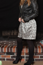 black Gap jacket - silver dress - black Steve Madden shoes