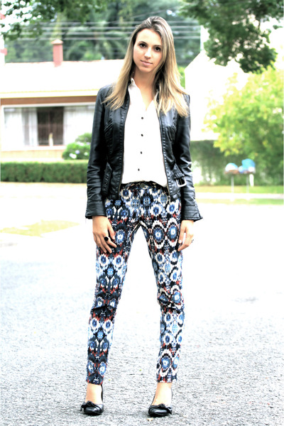 navajo Zara pants - leather jacket Zara jacket - silk JCrew shirt - Zara heels