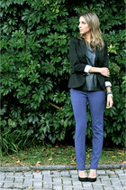 black black Zara blazer - black leather kl blouse - blue blue sporty LMNTS pants