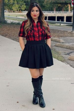 black skater skirt Zara skirt - black boots Steve Madden boots