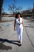cream Forever 21 jacket - white Zara pants - black Steve Madden heels
