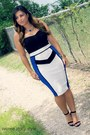Blue-midi-dress-windsor-dress-black-anne-michele-heels