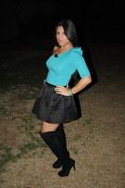 black Forever 21 boots - aquamarine lulus dress - black Forever 21 skirt - aquam
