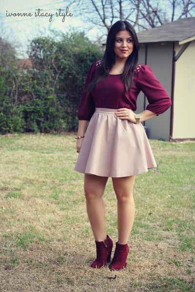 pink H&M skirt - crimson Forever 21 boots - crimson Forever 21 top