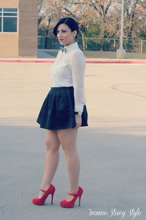 white Forever 21 tie - black Forever 21 skirt - red Steve Madden heels