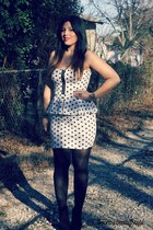 black Forever 21 tights - white polka dot dress IvonneStacy Style dress