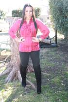 black Forever 21 boots - black Forever 21 jeans - hot pink Forever 21 top