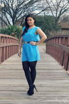 teal The Stylish closet romper - black Forever 21 heels - black Zara belt