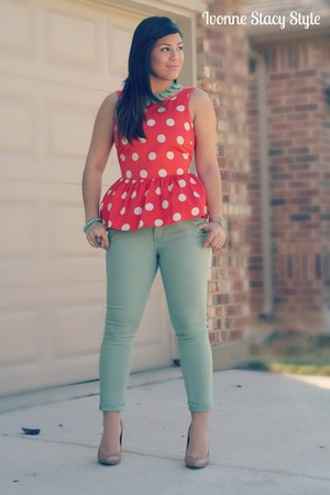 carrot orange asos top - aquamarine Nordstroms pants - nude Steve Madden heels