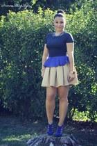 blue Forever 21 top - blue Steve Madden heels - tan Zara skirt