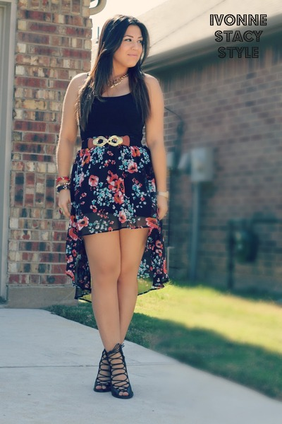 blue kohls skirt - black tank H&M top - black Forever 21 heels
