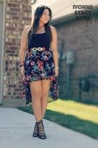 blue kohls skirt - black tank H&M top - black Forever 21 heels