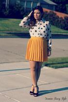 mustard pleated skirt Forever 21 skirt - ivory polka dots Forever 21 blouse