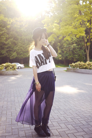 deep purple American Apparel skirt - white Forever 21 top