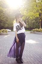 deep purple American Apparel skirt - white Forever 21 top