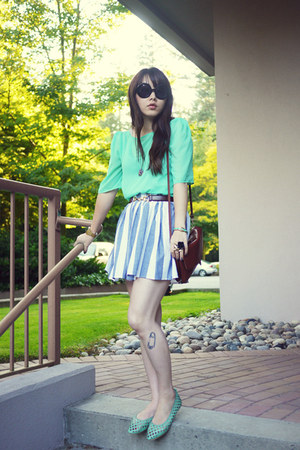 white American Apparel skirt - aquamarine American Apparel top