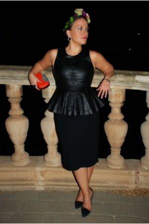black Zara top - black tube skirt Hugo Boss skirt