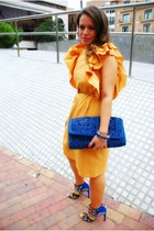 blue Mango purse - yellow design by myself dress
