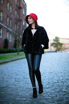 black faux fur Club Monaco coat - black leather pants