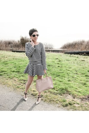 houndstooth top - light pink Prada bag - black skirt