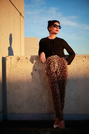 leopard print Forever 21 pants - black Zara blouse - white heels