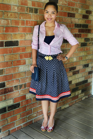 thrifted bag - navy polka dotted skirt - light pink Express blouse - thrifted be
