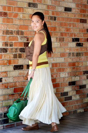 dark brown Aldo shoes - green Aldo purse - skirt - yellow tank top Forever 21 to
