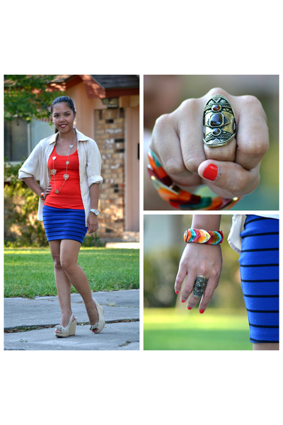 navy Forever 21 skirt - red Forever 21 top - dark brown Forever 21 ring