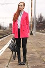 Hot-pink-woolen-oasap-coat-black-pu-oasap-pants-statement-oasap-necklace