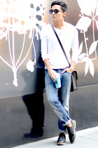 MQT Denim jeans - pull&bear shoes - Zara shirt - Bershka bag - zeroUV sunglasses