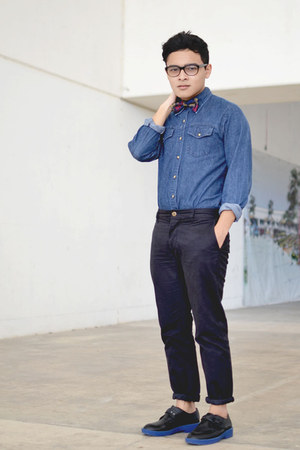 bowtie Bonsai accessories - SoleStruck shoes - denim Levis shirt - asos pants