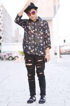 Choies shirt - cut out Nasty Gal shoes - ripped Zara jeans - fedora Bershka hat