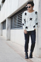 cut out Choies boots - Zara jeans - stars Choies sweater