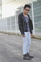 leather romwe jacket - pull&bear boots - pull&bear jeans - asos t-shirt