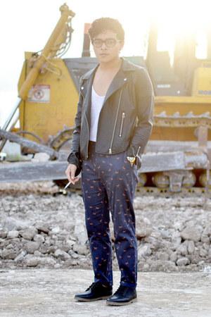 pull&bear shoes - romwe jacket - Zara top - asos pants