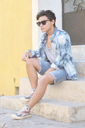 Bershka top - bleached asos shirt - Sfera shorts - squared Nasty Gal sunglasses