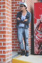 ankle boots Zara boots - ripped jeans Zara jeans - cap Boy London hat