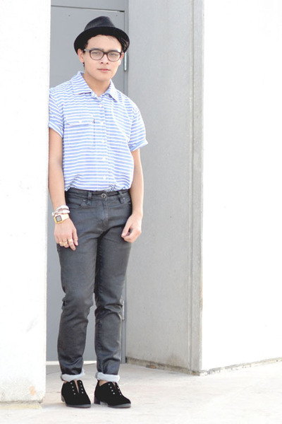 Nasty Gal shoes - Zara jeans - fedora Bershka hat - striped Levis shirt